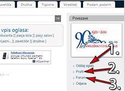 Aktivacija uporabniškega računa in Profil, po prijavi